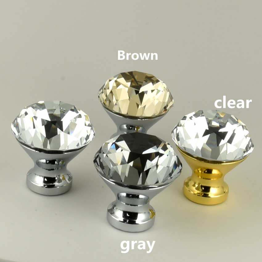 Modern fashion clear gray brown glass crystal drawer tv table knobs pulls silver gold cupboard dresser dor handle 25mm 30mm 40mm modern simple fashion clear glass crystal drawer tv table knobs pulls rose gold rhinestone kitchen cabinet cupborad door handles
