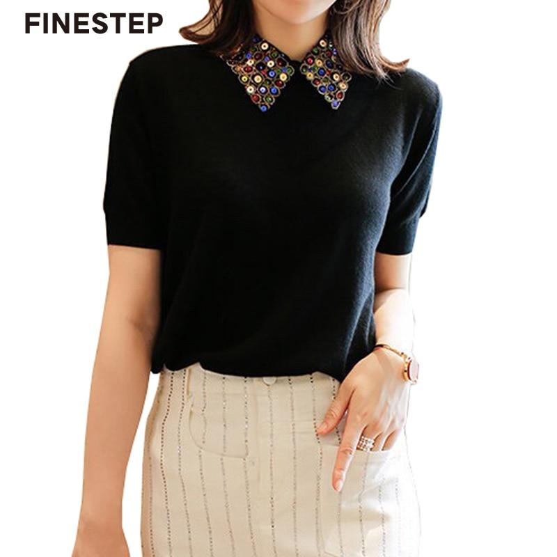 Черный и белый короткий рукав Топ Для женщин s вязаный Топ Свитера, пуловеры Зимняя шерстяная одежда Для женщин свитера