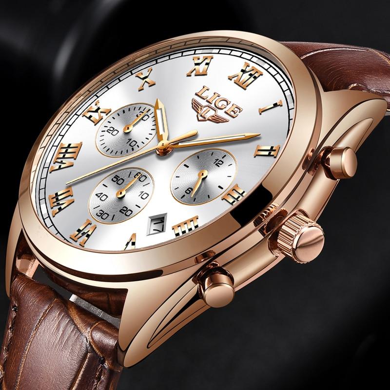Men Watch Male Leather Roman numerals vintage style 2018 LIGE watch Quartz Watches Mens Brand Waterproof
