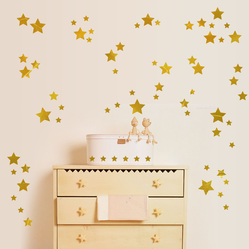 The Sky Golden Star Wall Stickers For Kids Rooms Art Bedroom TV Wall Glass Windows Home Decor Pegatinas De Pared