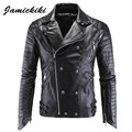 Jamickiki Brand Leather Jacket Men 2016 High Streetwear Male Turn Down Jaqueta De Couro Masculina PU Skull Punk Veste Cuir Homme