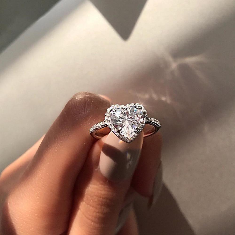 Мода кристалл в форме сердца для свадьбы Кольца женские циркон обручальные кольца Гламурные ювелирные изделия