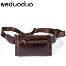 Weduoduo Men Waist Bag Genuine Leather Phone Case Cover Travel Money Belt Pack Fanny Waists Pouch