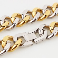 New Arrive Stainless Steel Silver Gold Handmade Cuban Curb Link Chain Mens Womens Daily Jewelry Necklace Or Bracelet 15mm 7-40