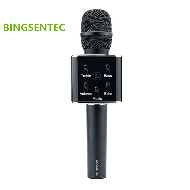 BINSENTEC Q7 Magic Karaoke Microphone Phone KTV Player Wireless Condenser Bluetooth MIC Speaker Record Music For Iphone Android  k068 wireless microphone microfone with mic speaker condenser mini karaoke player ktv singing record for smart phones computer