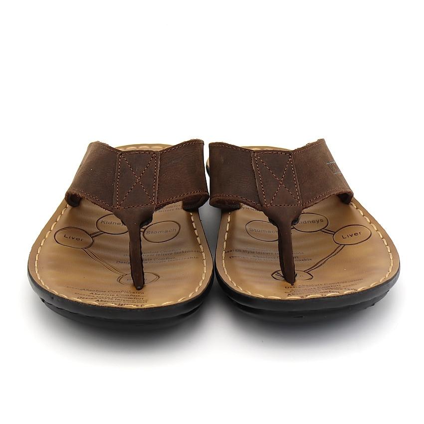 BIMUDUIYU Männer Flip Flops Casual Männer Schuhe Aus Echtem Leder - Herrenschuhe - Foto 2