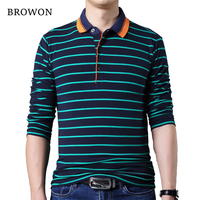 BROWON Autumn Fashion Men T Shirt Black Stripe Men Long Sleeve Business T Shirt Turn Down