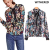 Withered Winter Blusas Blouse Women England Street Floral Printing Collar Tie Bow Fold Casual Blouse Shirt