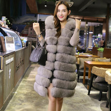 2017 Fashion Faux Fox Fur Long Vest With Hooded Women Winter Thick Warm Artificial Fur Vests Fur Coat Female Jackets S-4XL PC246(China)