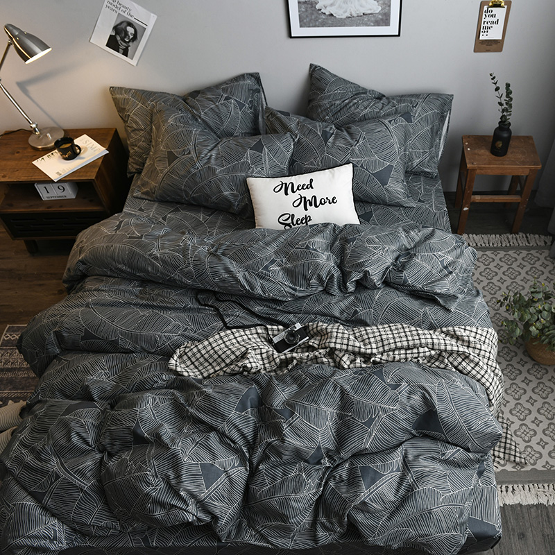 Nordic Dark Grey Leaf Pattern 3/4pcs Bedsheet Pillowcase Duvet Cover Sets Cotton Bedlinen Twin Double Queen  Size Bedding Set Nordic Dark Grey Leaf Pattern 3/4pcs Bedsheet Pillowcase Duvet Cover Sets Cotton Bedlinen Twin Double Queen  Size Bedding Set