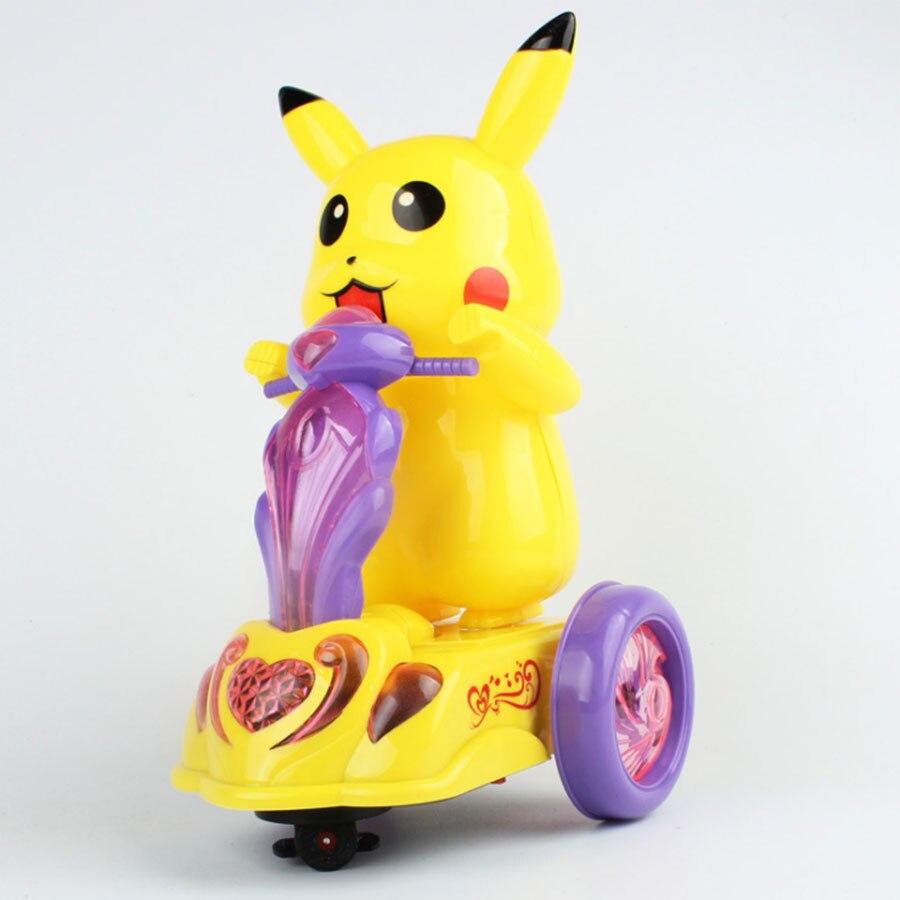 Cartoon electric motorcycle Kids toys Pikachu Universal rotation car light music children toy gift