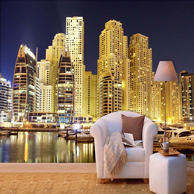 Custom 3d Photo Wallpaper Dubai City Night Landscape 3d Mural Living
