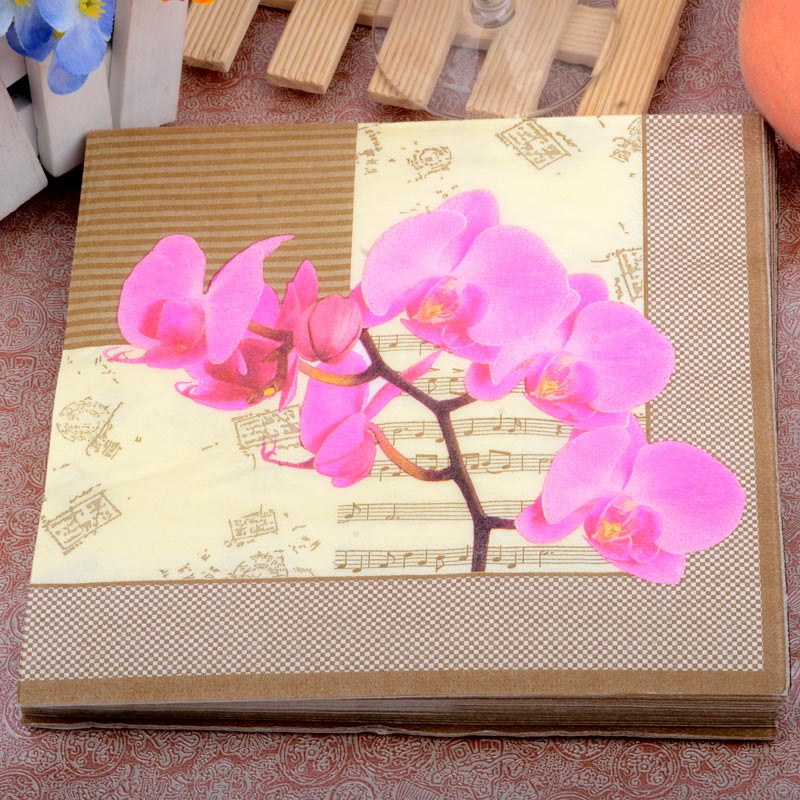 33*33cm 20PCS/Pack Orchid music Retro Pattern Paper Napkin 100% Virgin Wood Paper Napkin for Hotel Cafe decoration