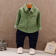 WYNNE GADIS Baby's Sets Boys Corduroy Long Sleeve Lapel Collar Pocket Shirt Blouse Tops + Casual Trousers Kids Two Pieces Suits