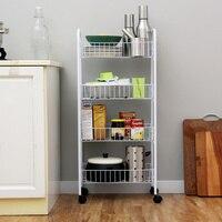 Кухонная стойка напольный съемный шкив стеллаж для хранения 4 слоя отделочная полка для дома мульти-функция стеллаж для хранения wx10201956