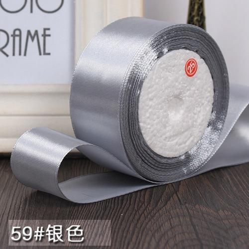 25 ярдов/рулон 6 мм, 10 мм, 15 мм, 20 мм, 25 мм, 40 мм, 50 мм, шелковые атласные ленты для рукоделия, швейная лента ручной работы, материалы для рукоделия, подарочная упаковка - Цвет: Silver