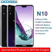 DOOGEE N10 cep telefonu octa çekirdek 3GB RAM 32GB ROM 5.84 inç FHD + 19:9 ekran 16.0MP ön kamera 3360mAh Android 8.1 4g lte 2019
