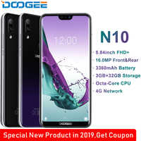 DOOGEE N10 mobile Phone Octa-Core 3GB RAM 32GB ROM 5.84inch FHD+ 19:9 Display 16.0MP Front Camera 3360mAh Android 8.1 4GLTE 2019