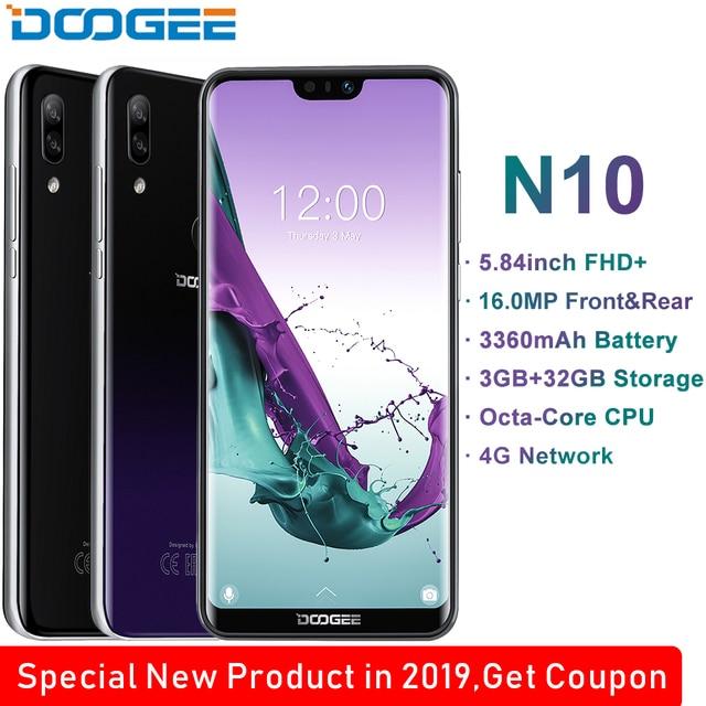 Doogee n10 octa core 3gb ram 32gb rom 5.84 polegada fhd + 19:9 exibição 16.0mp câmera frontal 3360mah android 8.1 4glte 2019