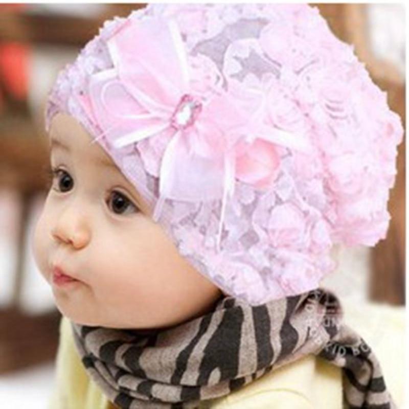 0e483f89bc9a Chine Bébé Enfant Chapeaux Rose Rose Fleur de Chapeau de Beanie avec Coiffe