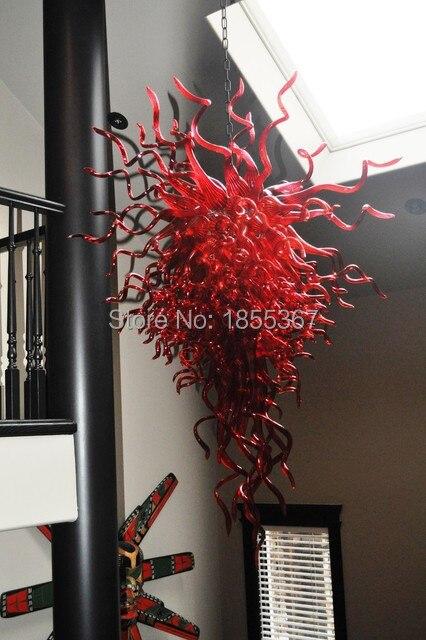 Бесплатная доставка вилла Освещение лобби Мурано Стекло люстра красный