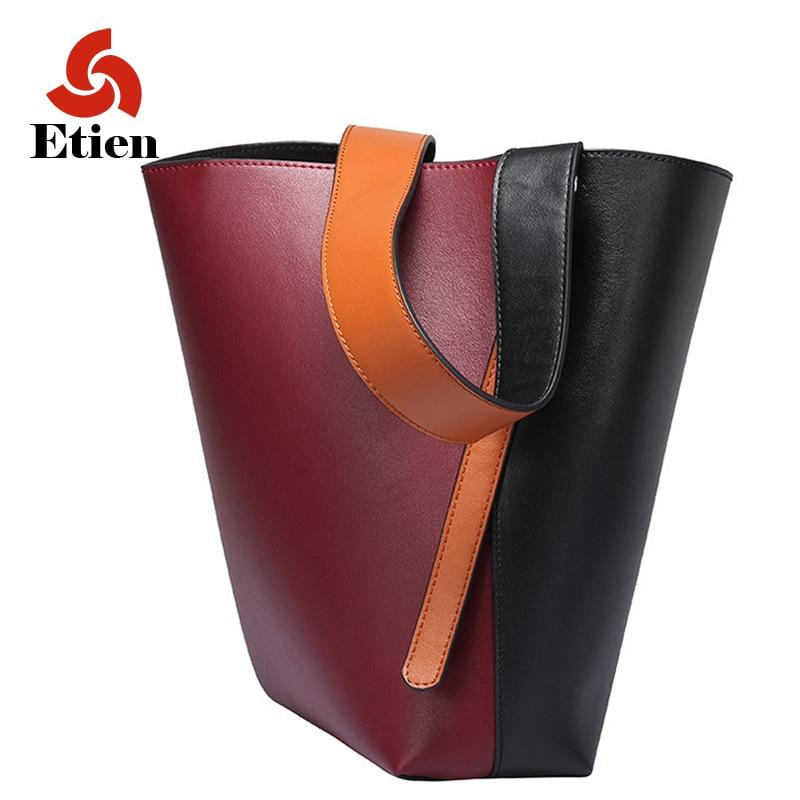 Cubo grande de cuero genuino bolso de las señoras de las mujeres de cuero de lujo bolsos de las mujeres bolsos de cuero de diseño de alta calidad de moda sac