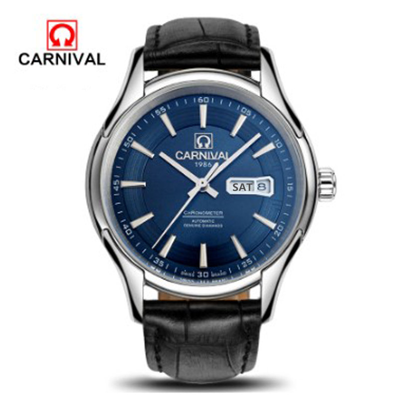 2016 Carnival military automatic mechanical watches men's full steel waterproof vintage luxury famous brand watch leather strap skmei 6911 womens automatic watch women fashion leather clock top quality famous china brand waterproof luxury military vintage