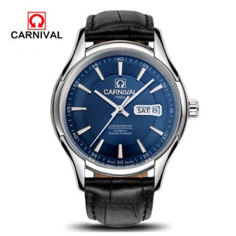 2016 carnaval militaire automatique mécanique montres hommes complet acier étanche vintage luxe célèbre marque montre bracelet en cuir