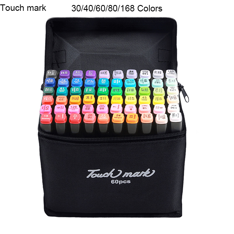 TouchMark 30/40/60/80/168 Colors Art Markers For Drawing Dual Head Brush Marker Pen Draw Manga Animation Painting Art Supplies