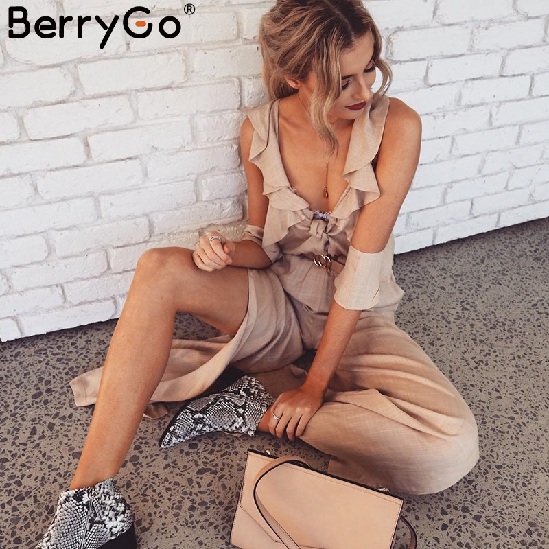 BerryGo Sexy cold shoulder women   jumpsuit   Ruffles deep v neck split long overall Elegant chic holiday female summer romper 2018