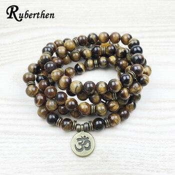 Ruberthen Fashion Tiger Eye 108 Mala Bracelet Om Buddhist Bracelet or Necklace High Quality Yogi 4 Wrap Natural Stone Bracelet