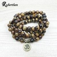 Lubean 2017 Fashion Tiger Eye 108 Mala Bracelet Om Buddha Bracelet Or Necklace High Quality Yogi