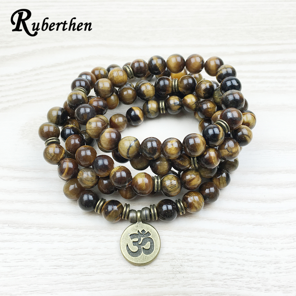 Ruberthen Fashion Tiger Eye 108 Mala Bracelet Om Buddhist Bracelet or Necklace High Quality Yogi 4 Wrap Natural Stone Bracelet new men bracelet 8mm tiger eye stone