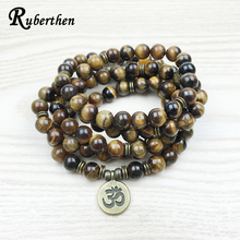 Ruberthen Fashion Tiger Eye 108 Mala Bracelet Om Buddha Bracelet or Necklace High Quality Yogi 4 Wrap Natural Stone Bracelet