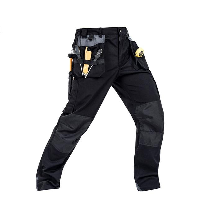 Men working pants multi-pockets wear-resistant worker mechanic cargo pants work wear trousers high quality machine repair pants  1