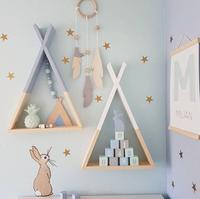 INS Nordic Wooden Tents Bunker Shelves wood trigon storage Wall Shelf For Kid's Room Background Photography 3D Wall Wood Racks