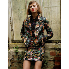 FREE SHIPPING Sexy Queen Fashion Catwalk Floral Fake Leather Locomotive Jacket And High Waist Skirt Suit Women Performance Sets