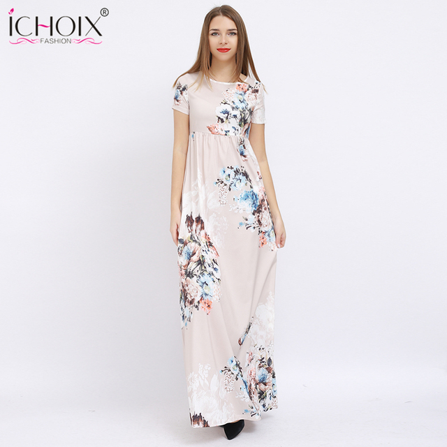 f6b44ec526 ICHOIX Women Summer Long Chiffon Dresses Casual Floral Print Elegant Party Maxi  Dress Female Floor Length