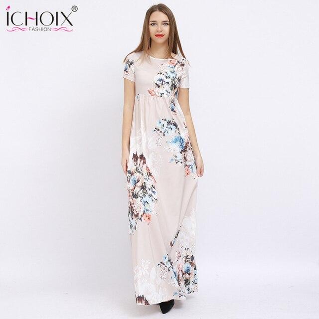 ab9145ce6 ICHOIX النساء صيف طويل فساتين الشيفون عارضة الأزهار طباعة أنيقة حزب ماكسي  اللباس الإناث الطابق طول
