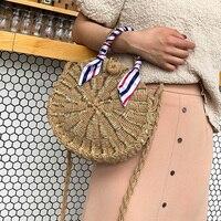 Vintage Round Straw Knitting Handbags Women Summer Beach Rattan Bag Handmade Scarves Ribbon Woven Beach Crossbody Shoulder Bag