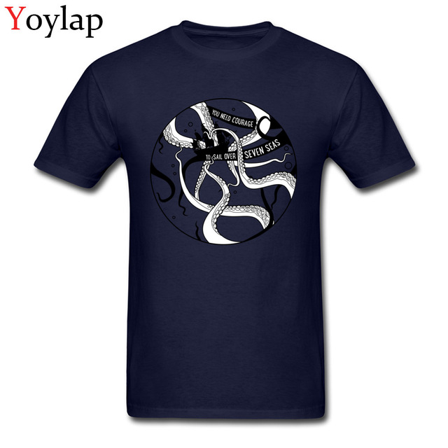 7b80b400 Design Mystic Octopus Mans Stylish Blue T-shirts One Piece Deep Sea Monster  Kraken Printed Tops Tee-shirt Sailors Courage
