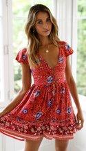 Boho Vintage Dress Women Elegant Low Cut Mini Dress 2019 Summer Sexy Button Open Dress Print Beach Holiday Vestido Party Clothes все цены