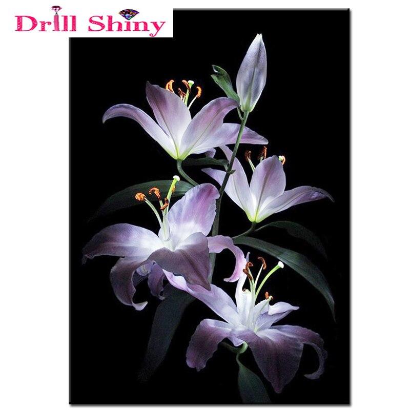 DIY patrón de diamantes bordados perlas flor Lily patchwork ...
