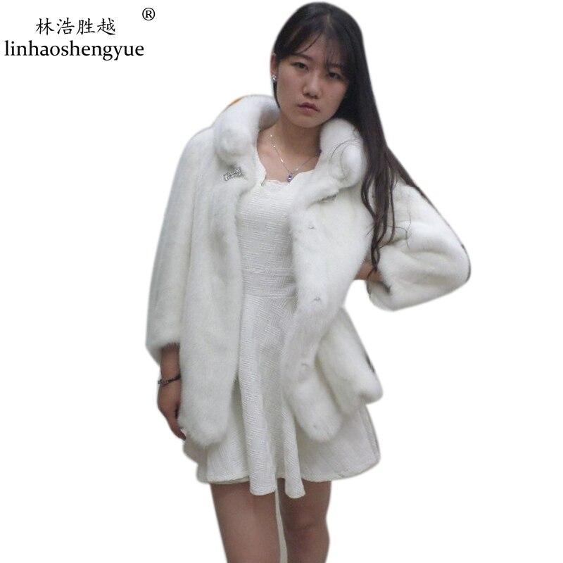 Linhaoshengyue Réel manteau de fourrure jupe type