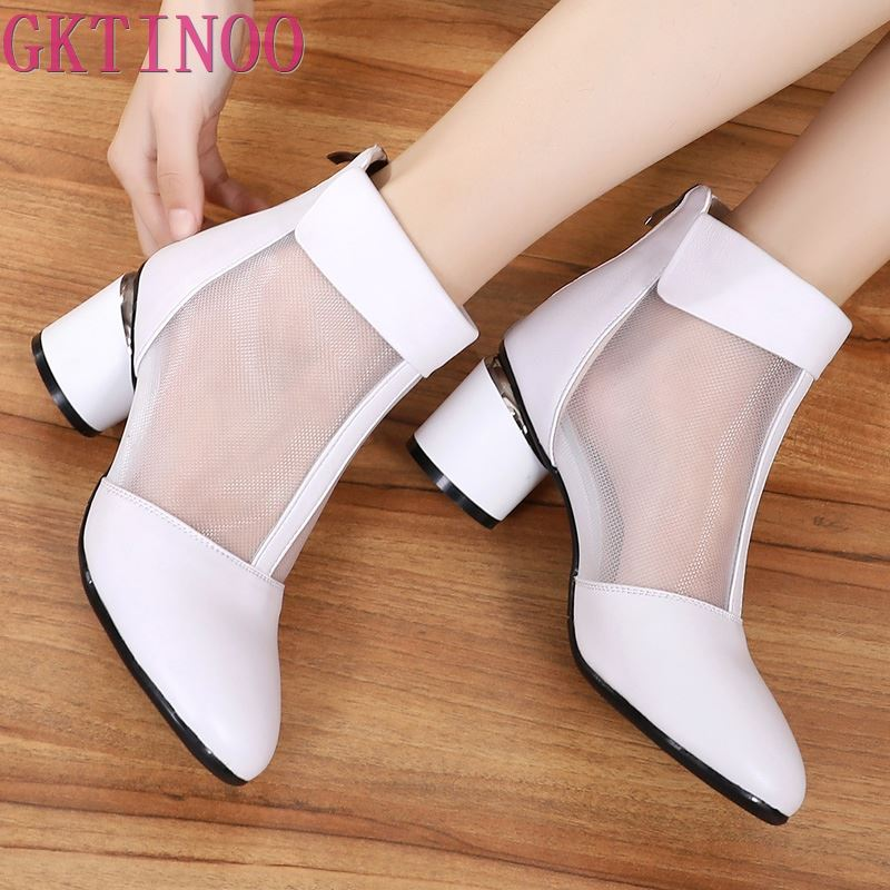 GKTINOO Fashion Sandals Mesh Genuine Leather Shoes Woman High Heel Sandals 2019 New Breathable Cool Boots