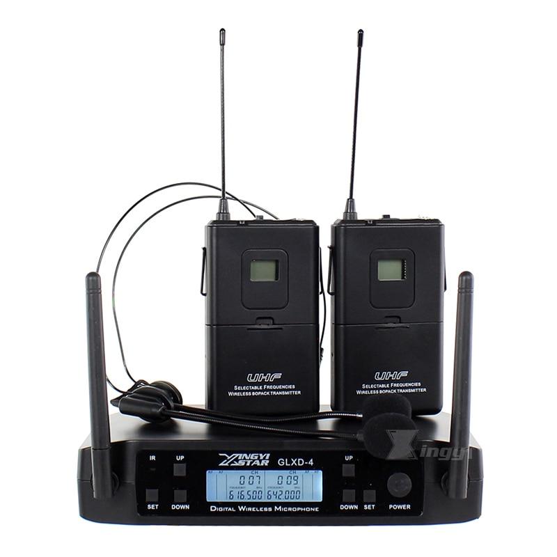 GLXD4 Professional UHF Wireless Headset Microphone System Cordless Bodypack Transmitter Headworn Mic For DJ Mixer Audio