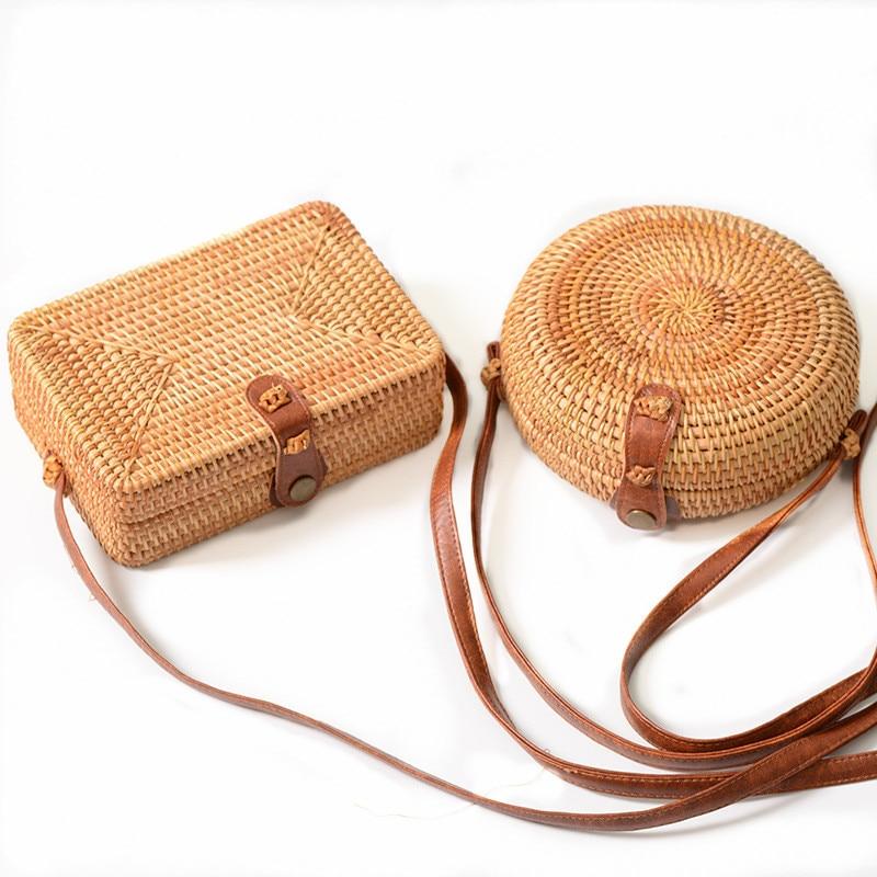 Round Straw Bags for Women 2018 Beach Bag Box Summer Rattan Bolsa Handmade Woven Bolsos Mujer Bali Bag Circle Bohemia Handbag