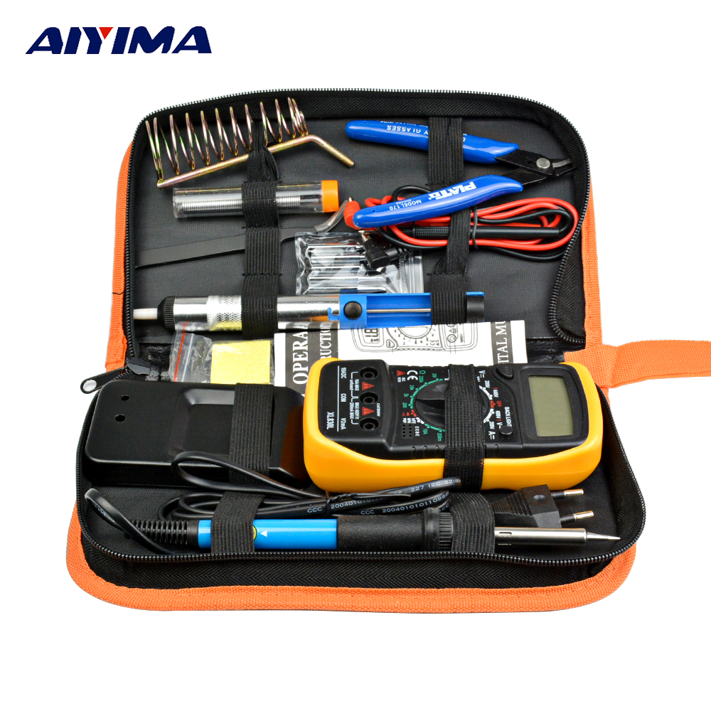 Aiyima EU Plug 220V 60W Electric Soldering Iron Kit multimeter Adjustable Temperature Solder Wire Portable Welding Repair Tool