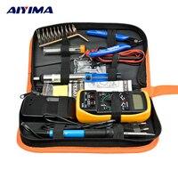 Aiyima EU Plug 220V 60W Electric Soldering Iron Kit Multimeter Adjustable Temperature Solder Wire Portable Welding