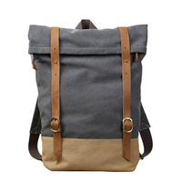 ROCKCOW Canvas Leather Laptop Backpack Handmade School Backpack Canvas Travel Backpack